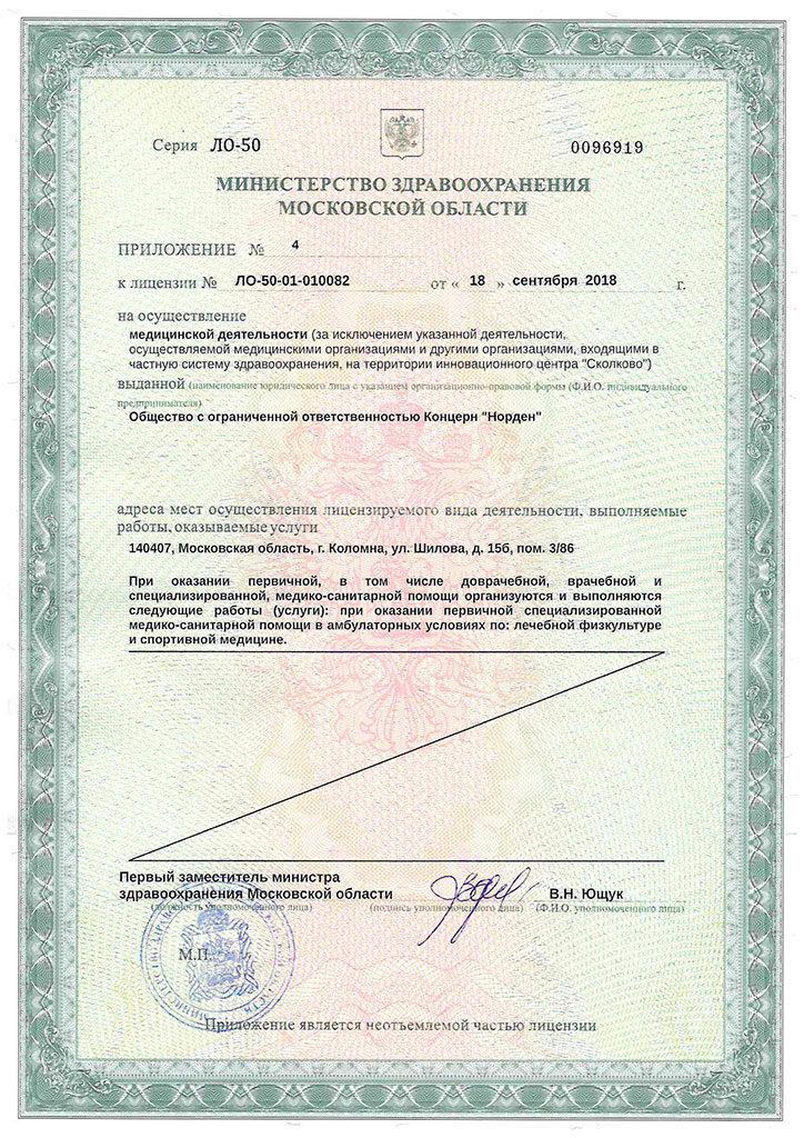 Лицензия Норден приложение 4